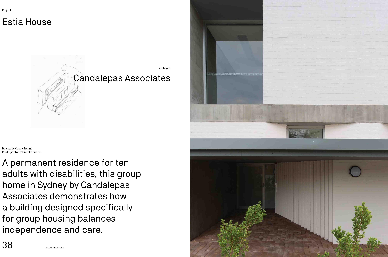 Estia House in Architecture Australia